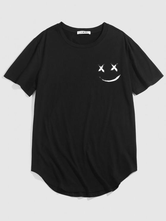 ZAFUL Happy Face Curved Hem Basic T-shirt - أسود XXL
