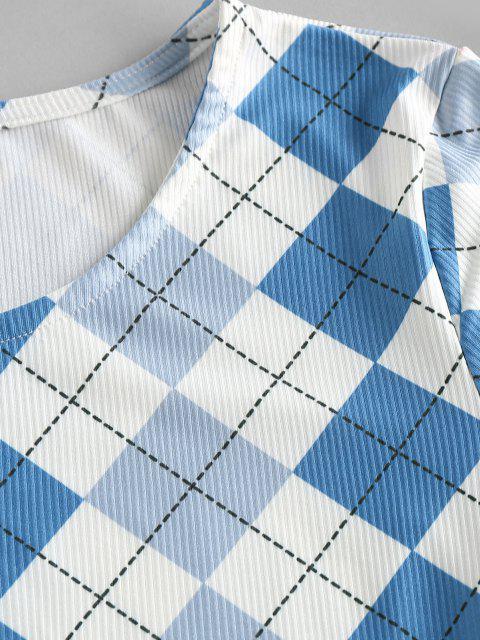 ZAFUL Camiseta Manga Curta com Argyle - Azul M Mobile