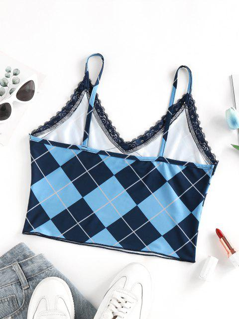 affordable ZAFUL Argyle Lace Insert Crop Camisole - BLUE S Mobile