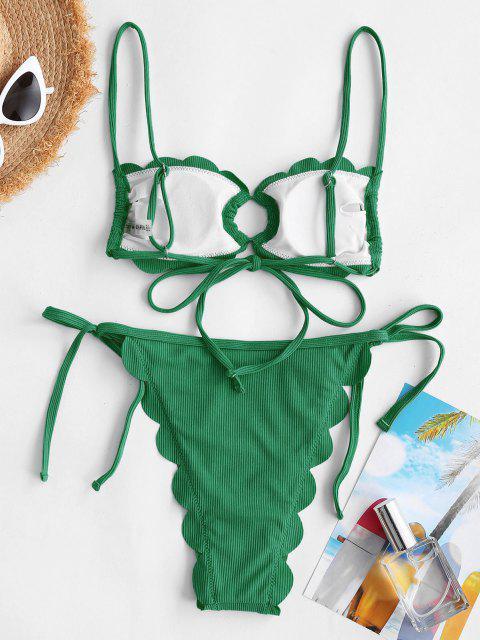 Costume da Bagno Bikini Smerlato con Anello di ZAFUL - Verde S Mobile
