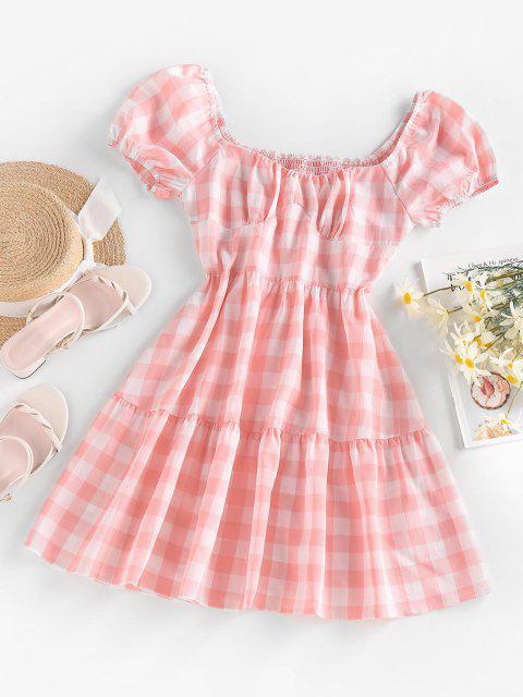ZAFUL Kittel Gingham Mini Kleid mit Puff Ärmel - Hell-Pink L Mobile