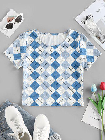 ZAFUL Camiseta De Cuello Redondo Con Mangas Cortas De Rombos - Azul Xl