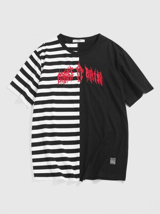 fashion ZAFUL Striped Print Letter Embroidered T-shirt - BLACK XL