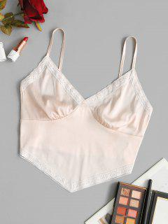 Satin Lace Trim Smocked Bralette Cami Top - Light Pink S