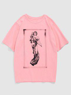 ZAFUL Fairy Print Short Sleeve T-shirt - Light Pink L
