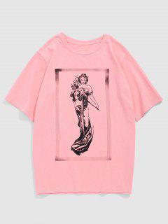 ZAFUL Fairy Print Short Sleeve T-shirt - Light Pink M