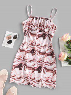 Water Ripple Print Ruched Bust Mini Dress - Multi S