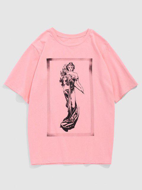 ZAFUL Fairy Print Short Sleeve T-shirt - وردي فاتح S Mobile