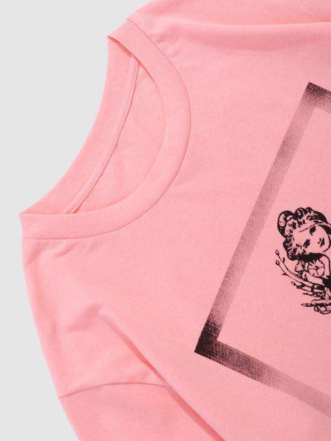 T-Shirt di ZAFUL a Maniche Corte con Stampa Favola - Rosa chiaro S Mobile