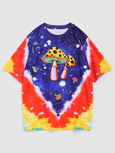 ZAFUL Cartoon Mushroom Tie Dye Print T-shirt - Multi L