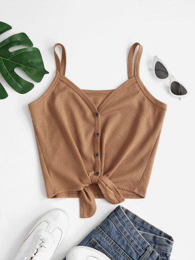 Button Front Knotted Knit Cami Top - Coffee S
