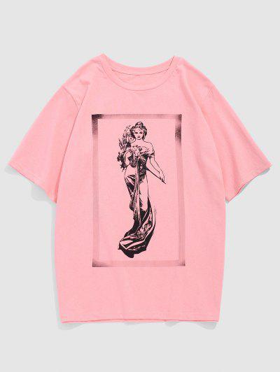 ZAFUL T-shirt De Manga Curta De Impressão De Fada De-shirt - Luz Rosa L