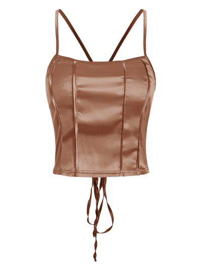 Silky Lace Up Criss Cross Back Cami Top - Coffee S
