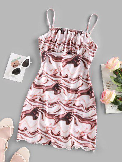 Water Ripple Print Ruched Bust Mini Dress - Multi M