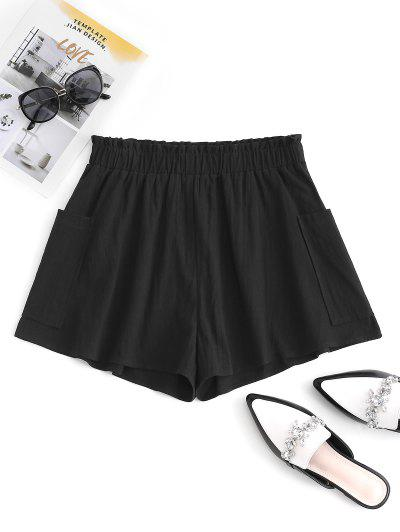 ZAFUL Pocket Cotton Frilled Pull On Shorts - Black Xl