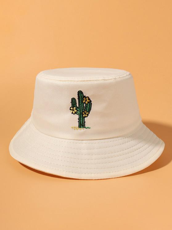 womens Cactus Embroidered Casual Street Bucket Hat - BEIGE