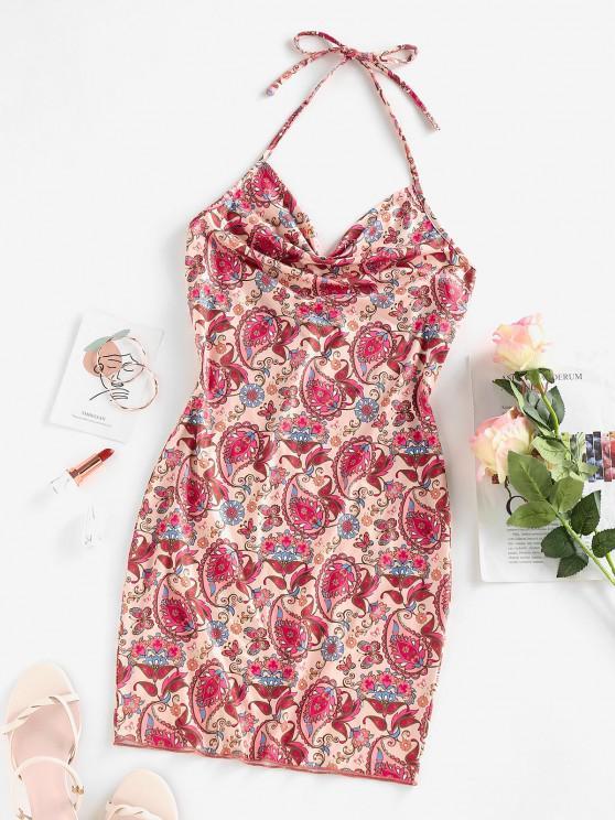 fancy ZAFUL Paisley Print Cowl Front Halter Dress - LIGHT PINK M