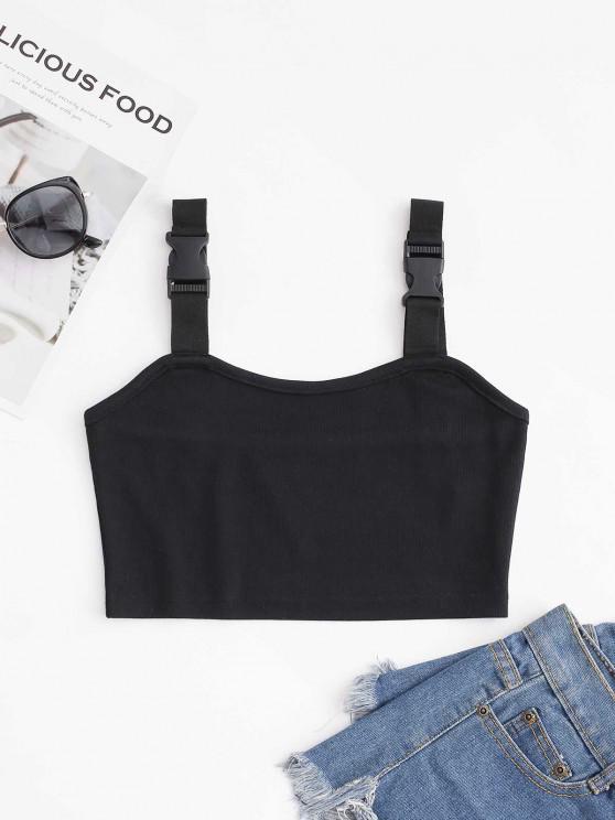 ladies Buckle Ribbed Knit Crop Tank Top - BLACK S