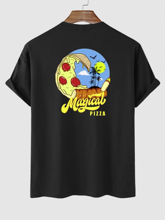 T-shirt de Vacances Graphique Palmier et Pizza Imprimés - Noir L