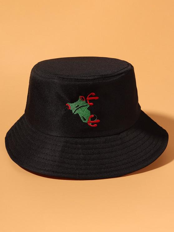 Frog Embroidered Casual Outdoor Bucket Hat - أسود