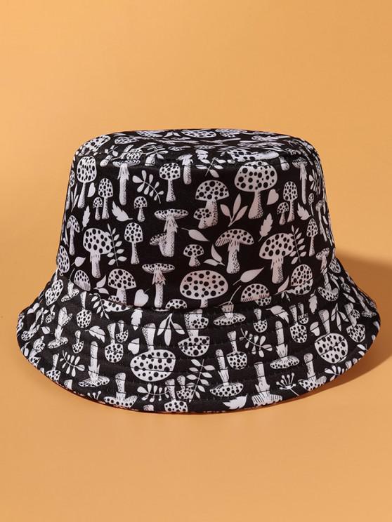 Alles über Pilz Gedruckter Lässiger Bucket Hut - Schwarz