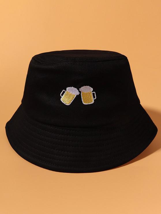 Cheer Beer Embroidered Casual Bucket Hat - أسود