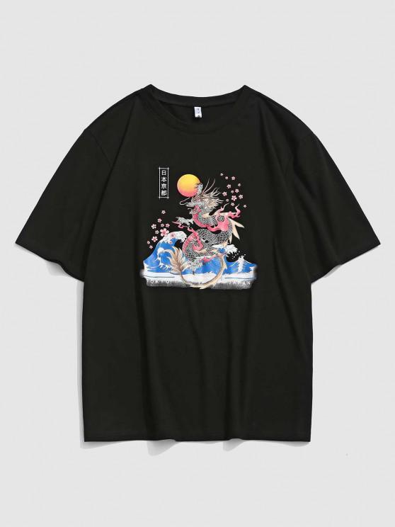 Tokyo Sakura Dragon Graphic Oriental T-Shirt - Schwarz S
