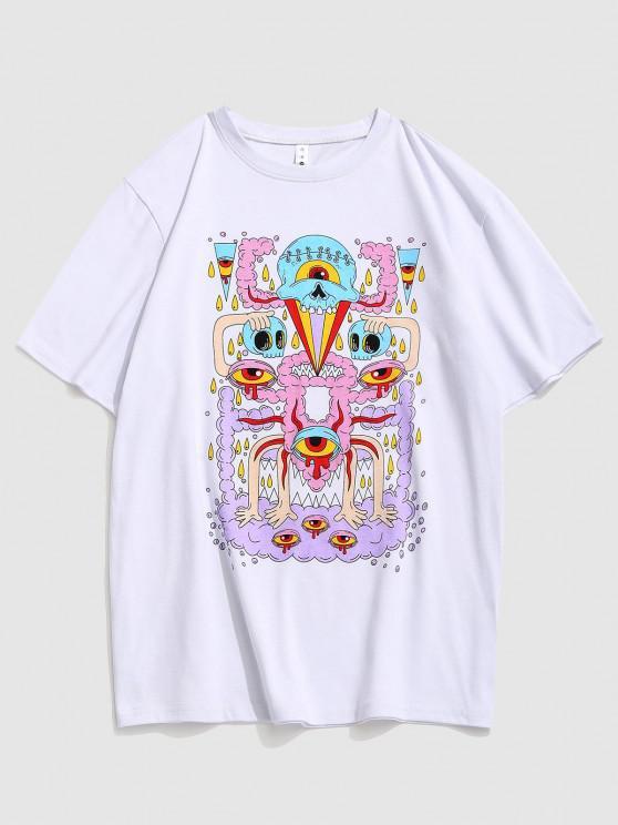 Augen Muster Grafik Kurzarm T-Shirt - Weiß XXL