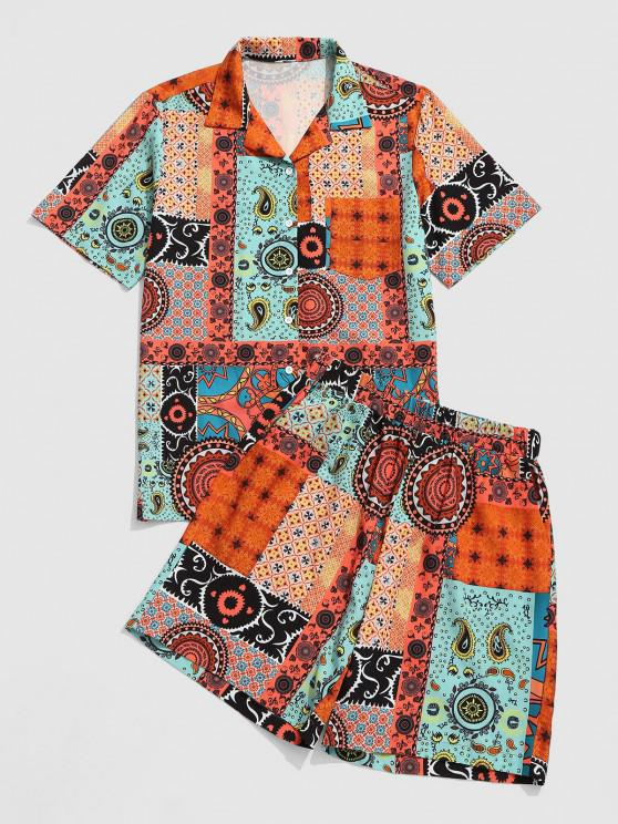 women's Paisley Tribal Pattern Patchwork Shirt And Shorts Set - COFFEE M