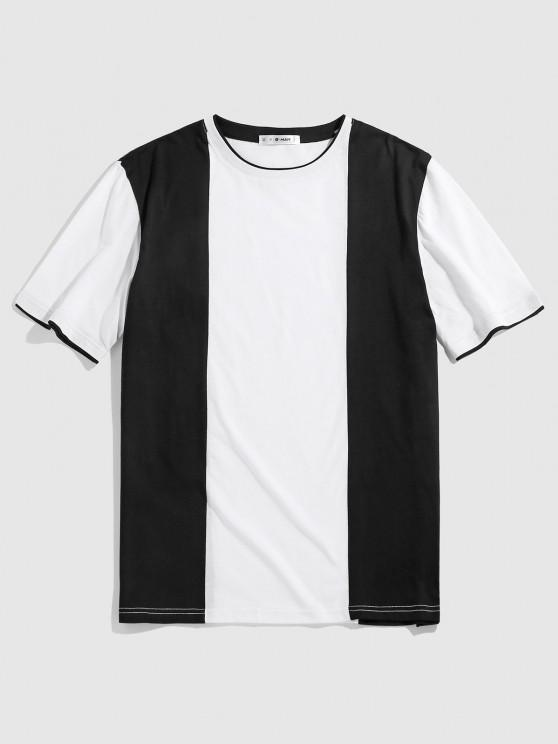 ZAFUL Two Tone Monochrome T-shirt - أسود S