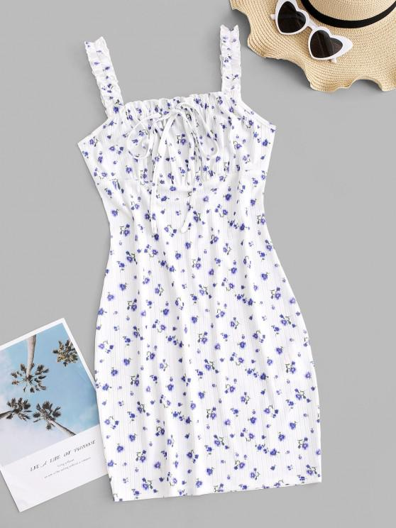 online ZAFUL Tiny Floral Tie Collar Frilled Ribbed Slinky Dress - MULTI M