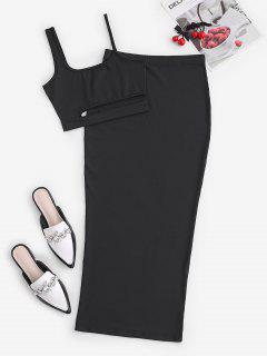 Cutout Crop Top And Bodycon Long Skirt Set - Black M