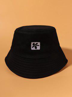 Flower Embroidered Casual Outdoor Bucket Hat - Black