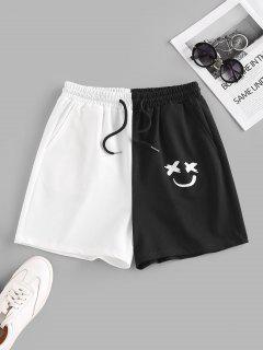 ZAFUL Colorblock Smile Print Drawstring Sweat Shorts - Multi Xl