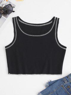 Topstitching Ribbed Racerback Crop Tank Top - Black S