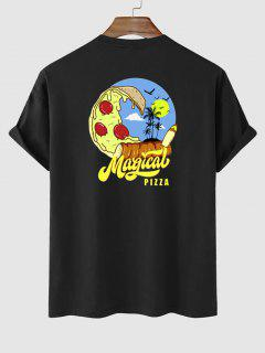 Magical Pizza Palm Tree Graphic Vacation T-shirt - Black M