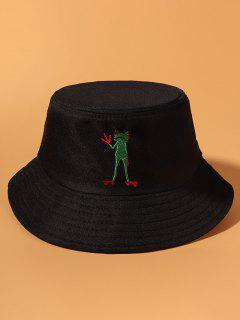 Standing Frog Embroidered Casual Bucket Hat - Black