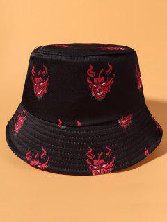 Ghost Print Casual Street Bucket Hat - Black