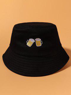 Sombrero De Cubo Casual Con Bordado De Cerveza Cubo - Negro