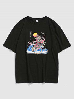 Tokyo Sakura Dragon Graphic Oriental T-Shirt - Schwarz L