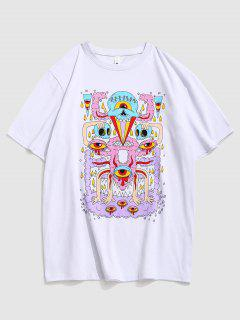Eye Pattern Graphic Short Sleeve T-shirt - White L
