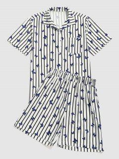 Camicia E Pantaloncini A Due Pezzi A Righe Con Stampa Farfalla - Bianca M