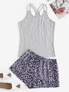 Dual Strap Leopard Contrast Pajama Shorts Set - Gray S