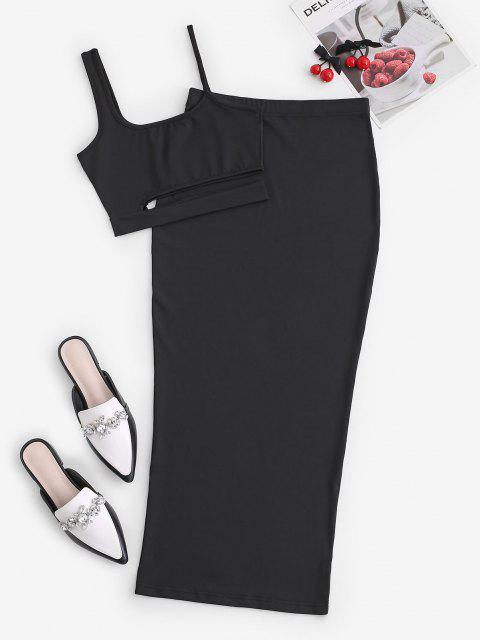 shop Cutout Crop Top and Bodycon Long Skirt Set - BLACK M Mobile