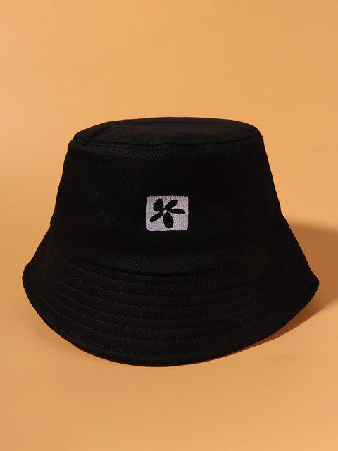 women Flower Embroidered Casual Outdoor Bucket Hat - BLACK  Mobile