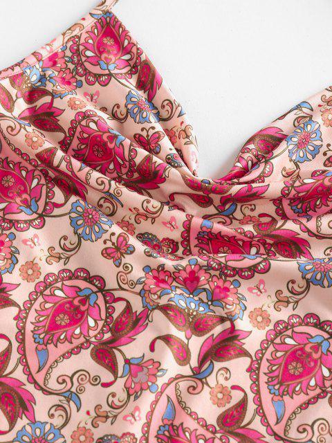 ZAFUL Robe Cachemire Imprimé à Col Bénitier - Rose clair S Mobile