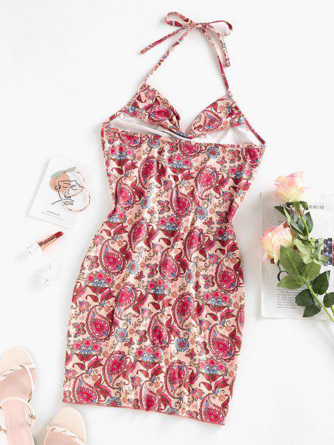 chic ZAFUL Paisley Print Cowl Front Halter Dress - LIGHT PINK L Mobile