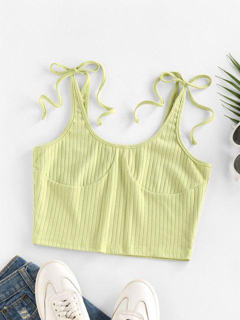 new ZAFUL Tie Shoulder Cupped Crop Tank Top - LIGHT GREEN S Mobile