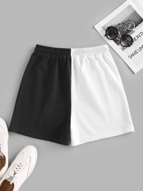 fancy ZAFUL Colorblock Smile Print Drawstring Sweat Shorts - MULTI XL Mobile