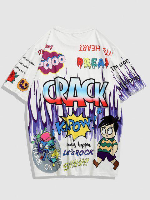 Crack Pop Art Streetwear T-shirt - أبيض XXL Mobile